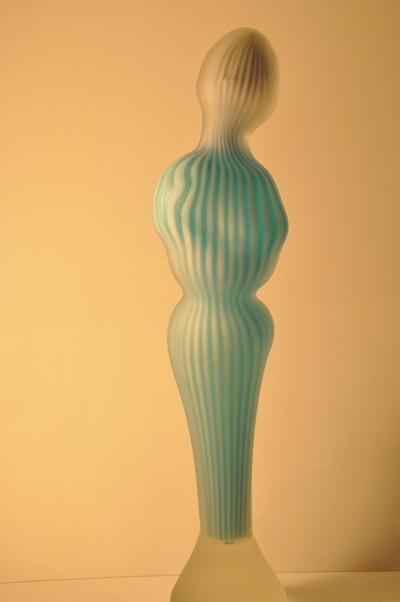 Randall Sach Blue and White Blown Cane Figure ART LOGIC