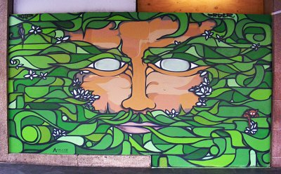 Sebastian Humphreys Green Graf Man Mural, King William Street ART LOGIC