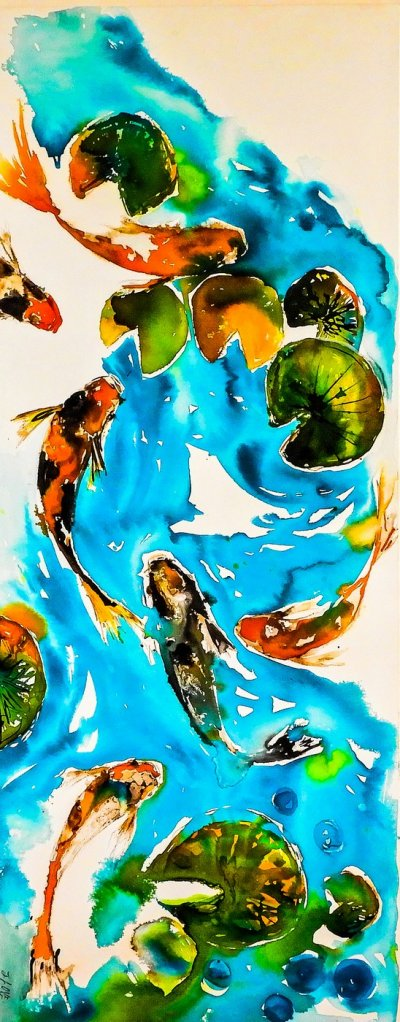 Gill Higgins,6 Koi Blue, Water, Pond, Lily Pad, Green, Gold, White, Art, Mixed M