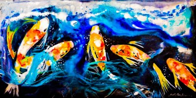 Gill Higgins, 5 Koi Blue, Water, Fish Acrylic, Ink, Pond, Art, Gold, Painting