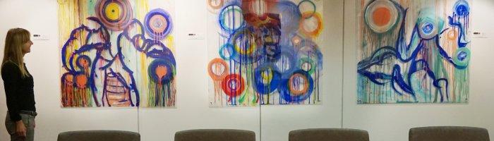 J.Eva M, Bouncing the Beat 1-3  in situ, Art Logic